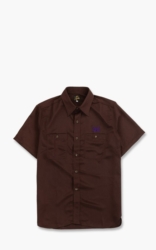 Needles S/S Work Shirt Poly Cloth Brown