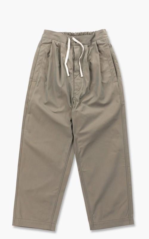 Document Chambray Cotton Tucked Trousers Khaki