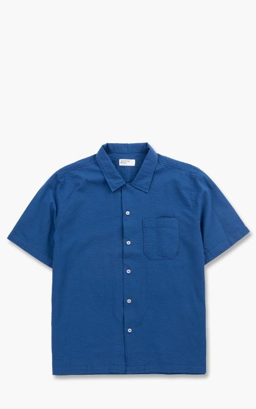 Universal Works Road Shirt Seersucker Bengal Blue