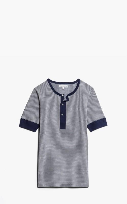Merz b. Schwanen 227 Button Facing Shirt 1/4 Ink Blue/Nature