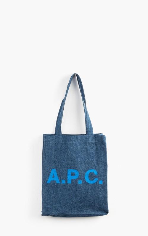 A.P.C. Lou Tote Bag Marbled Denim Washed Indigo