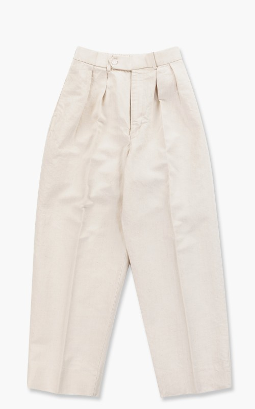 Markaware Hemp x Organic Cotton Dry Drill Double Pleated Trousers White