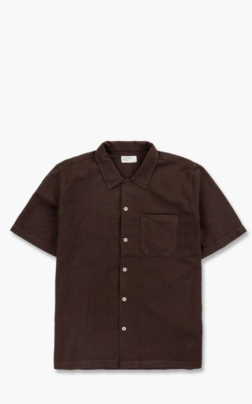 Universal Works Road Shirt Seersucker Bengal Brown