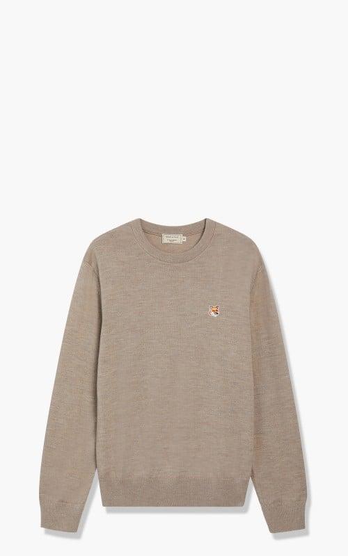 Maison Kitsuné Regular R-Neck Sweatshirt Fox Head Patch Beige Melange
