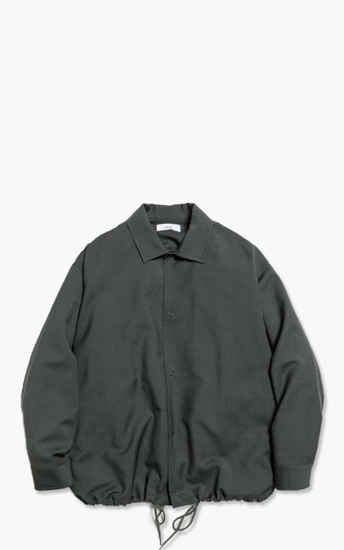Markaware 'Marka' Wool Mohair Tropical Coach Shirt Green