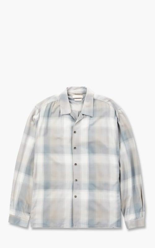Yoke Oversized Open Collar Shirt Fog Blue