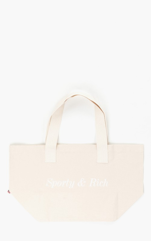 Sporty & Rich Classic Logo Tote Bag Cream