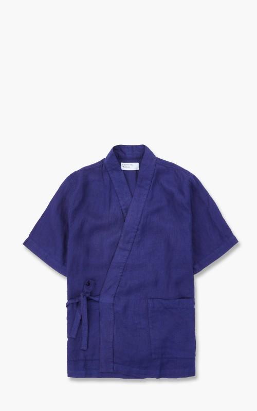 Universal Works Kyoto Linen Short Sleeve Shirt Ink Blue