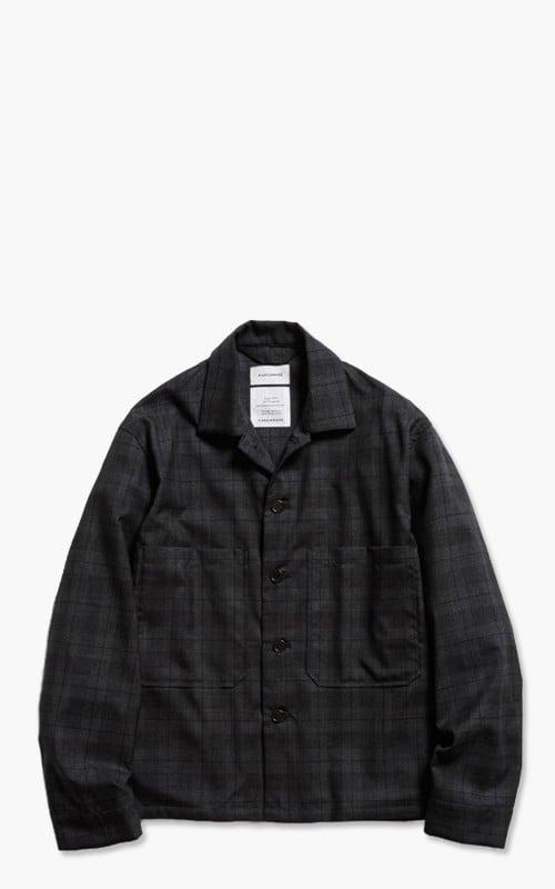 Markaware Super 120's Wool Tropical Utility Shirt Charcoal Check