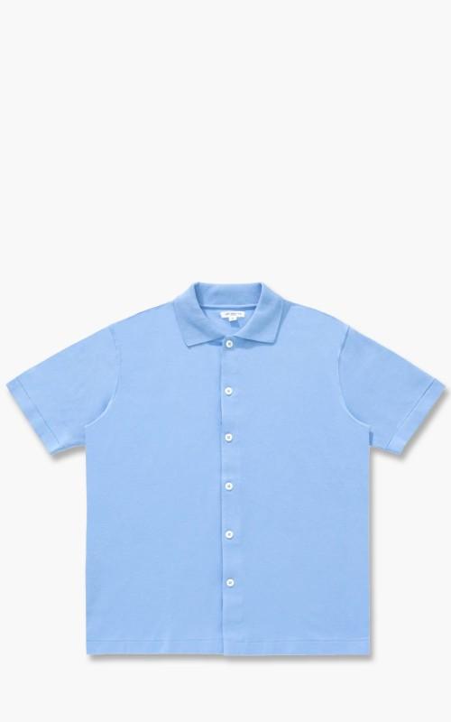 Lady White Co. Short Sleeve Placket Polo Sky Blue