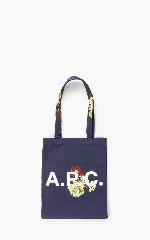 A.P.C. Lou Tote Bag Flower Printed Canvas Dark Navy