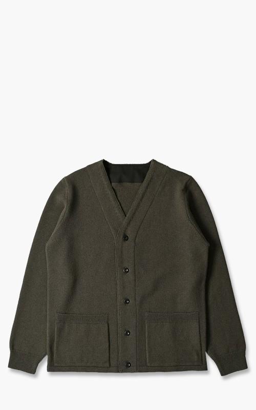 Margaret Howell MHL. Fabric Trim Cardigan Felted Wool Army Green