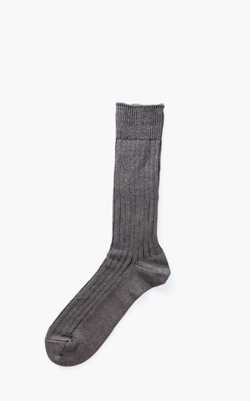 RoToTo R1010 Linen Cotton Ribbed Crew Socks Charcoal