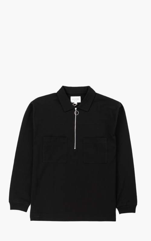 Still By Hand Half Zip Polo Sweatshirt Black