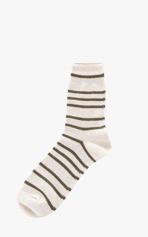Anonymous Ism Socks Re Cotton Stripe 3Q Nature/Khaki