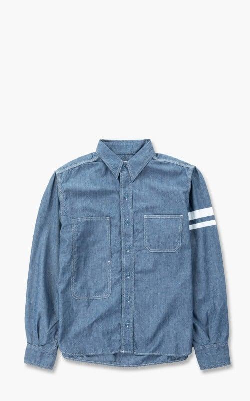 Momotaro Jeans 05-305 Chambray Jail Pocket Shirt Indigo