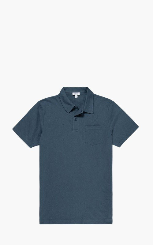 Sunspel Cotton Riviera Polo Shirt Dark Petrol