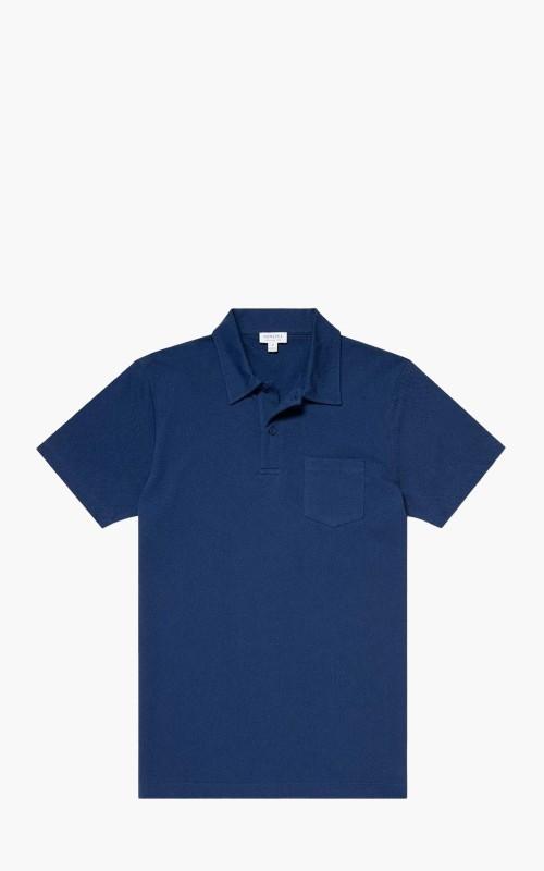 Sunspel Cotton Riviera Polo Shirt Midnight