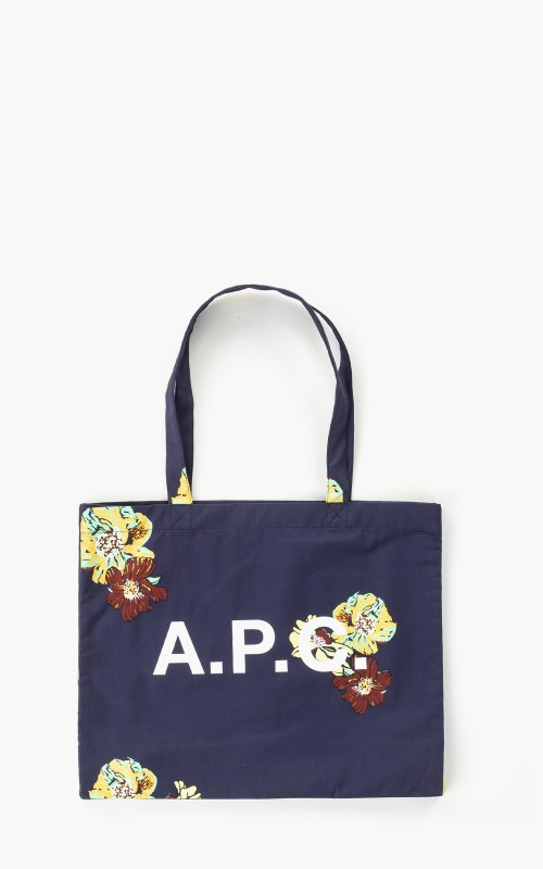 A.P.C. Diane Shopping Flower Printed Canvas Dark Navy