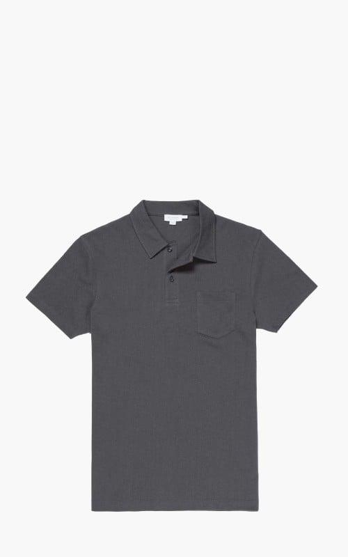Sunspel Cotton Riviera Polo Shirt Charcoal