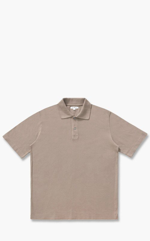 Lady White Co. Short Sleeve Two Button Polo Almond