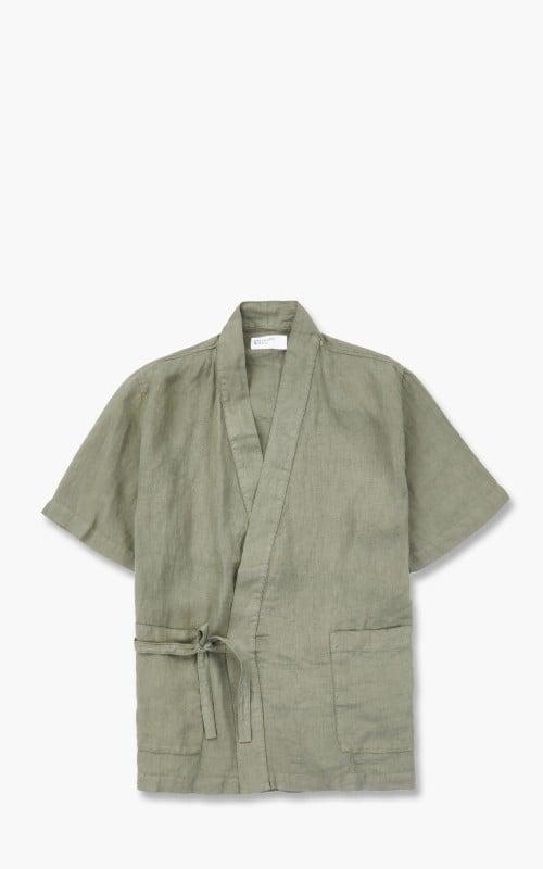 Universal Works Kyoto Linen Short Sleeve Shirt Bright Olive