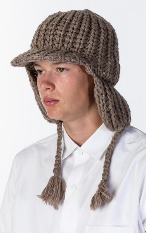 Kijima Takayuki Oversize Wool Knit Cap Beige