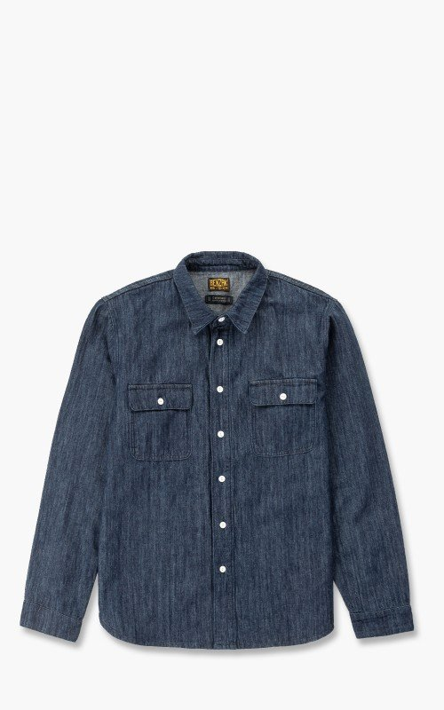 Benzak BWS-01 Work Shirt Organic Cotton/Linen Denim 8oz Indigo
