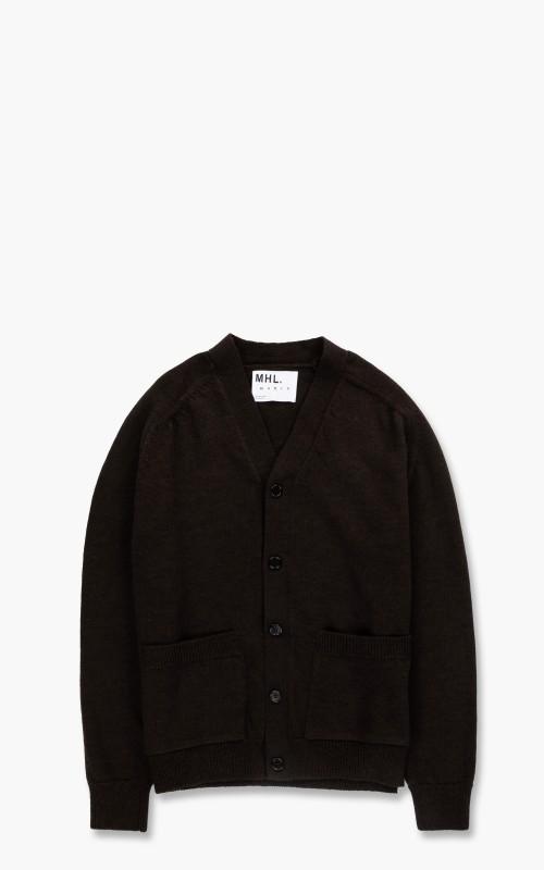 Margaret Howell MHL. Big Pocket Cardigan Dry Wool Ebony